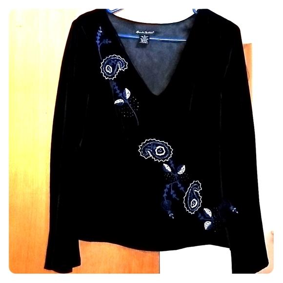 Black silk velvet top